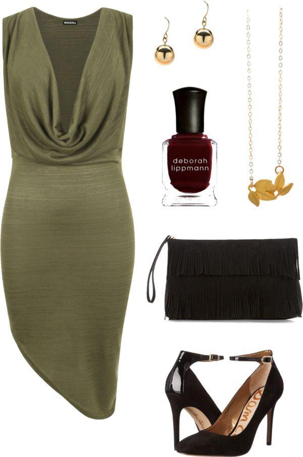 Olive dress with asymmetrical bottom