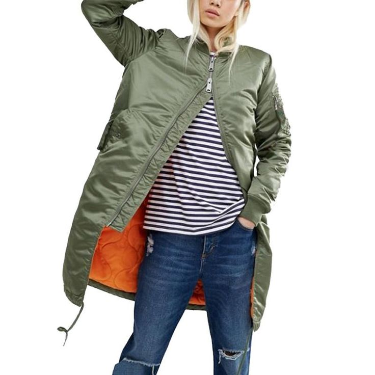 Long female coat casual military olive green bomber jacket
