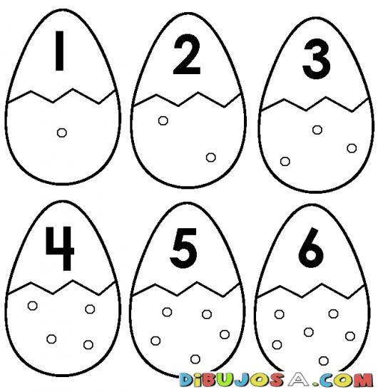 Numero 6 Dibujo De Seis Huevos Para Pintar Y Colorear Numeroseis | COLOREAR…