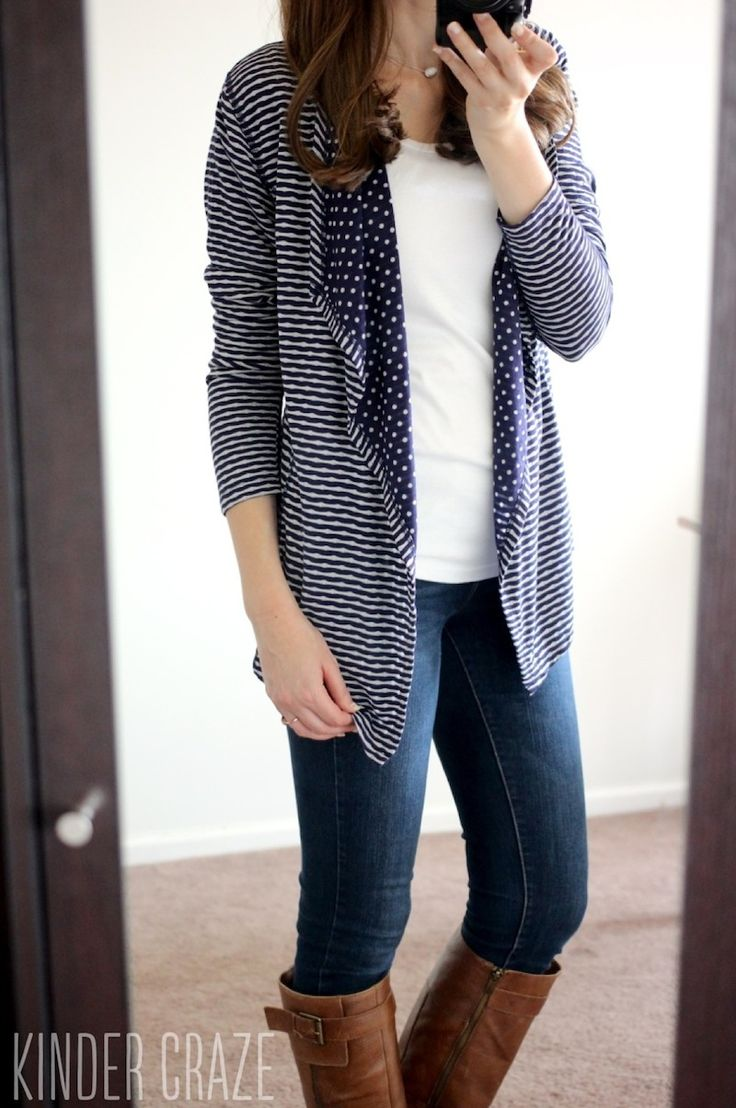 Dear Stylist can I puhlease have this cardi in September?? navy blue Margerie Stripe & Dot Open Cardigan from Market & Spruce with Sophie Skinny Jeans from Kensie - Stitch Fix