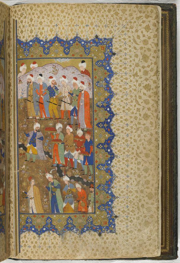 folio 3 verso: Kulliyat (Complete works) by Sa'di (d.1291)  TYPE Manuscript MAKER(S) Calligrapher: Muhammad al-Qivam al-Shirazi HISTORICAL PERIOD(S) Safavid period, mid-16th century MEDIUM Ink, opaque watercolor and gold on paper DIMENSION(S) H x W (overall): 31.1 x 20.6 cm (12 1/4 x 8 1/8 in) GEOGRAPHY Iran, probably Fars, Shiraz