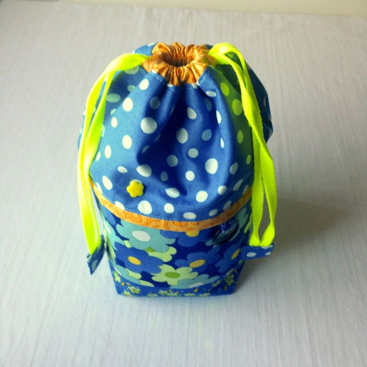 Daisy Mae - Blue - TAAT size small - Project Bag for Knitting Two At A Time  à la SockSack - Ramona Rose by QuiltMoxie on Etsy