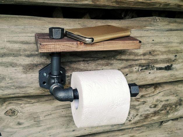 Portarrollos papel hig. - soporte de papel higiénico con el estante, industr - hecho a mano por Laurnika en DaWanda