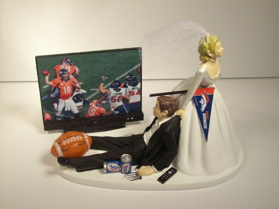 FOOTBALL Game Denver Broncos Funny Wedding Cake by mikeg1968