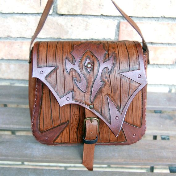 World of Warcraft-Leather bag-For The Horde-Leather purse-WOW-Carved leather bag-tooled leather purse-GEEK leather bag by ForgianticaLeather...