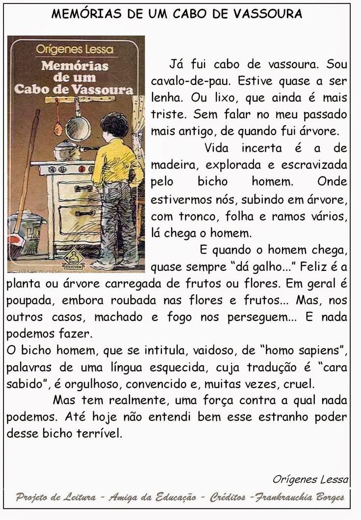 AMIGA DA EDUCAÇÃO.: Texto Memórias de um cabo de vassoura / Texto e atividades.