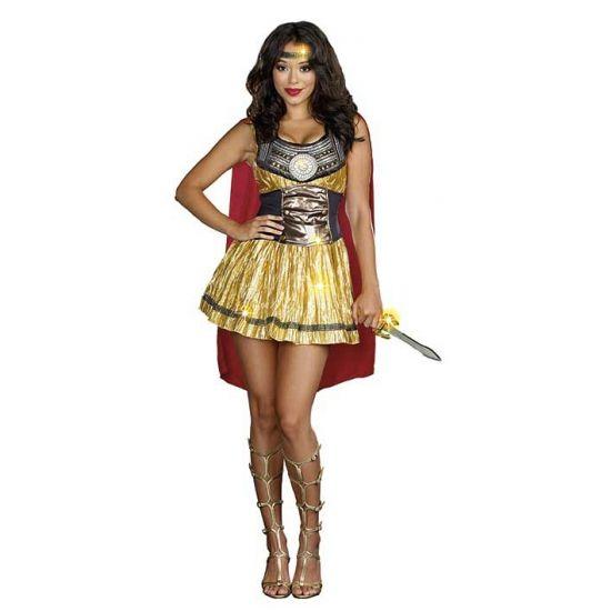 Sexy Gladiator kostuum met cape voor dames. Compleet gladiator kostuum voor dames bestaande uit een jurk met prachtige details, midrif corset, dolk en hoofdband.