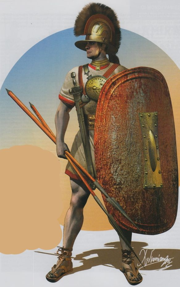 """An Etruscan warrior with a wide brimmed pot helmet, a typical curved oval shield called simply a """" scutum """". The warrior has a small bronze disk suspended over his chest that functions as a chest protector, and the straps that hold it up also suspend the warrior's sword. The warrior has a set of javelins too, which he can throw at enemies before closing in with his sword."""