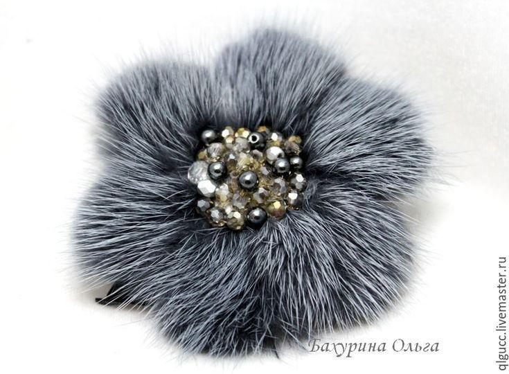 Купить Брошь из меха норки(различные цвета) - темно-серый, брошь ручной работы, брошь-цветок