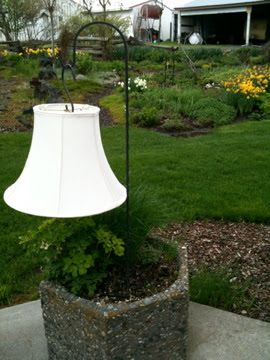 Dishfunctional Designs: Solar Light Crafts: Ideas & Inspiration! Lampshade hanging from shepherd's hook with solar light