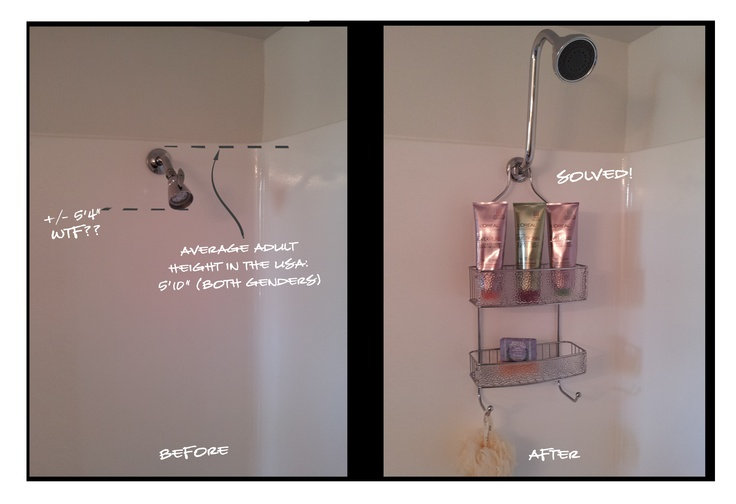 Problem solved! The Swan all-in-one shower head extension unit. No tools or assembly required. $39.99