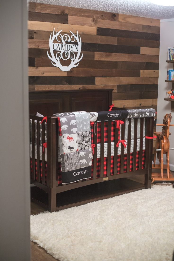 Baby boy, Lumberjack nursery, boy nursery, pallet wall nursery, red, rustic, plaid, Camdyn's nursery 2017