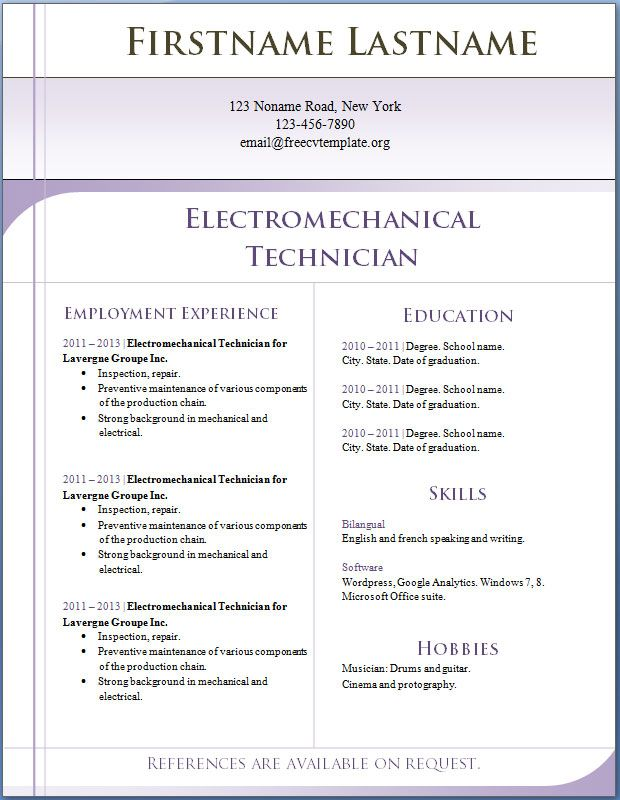 Resume Free Template Responsive Html\/Css3 Cv Template 20 Best - resume free template download