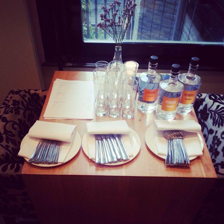 Preps for tasting new menu at Hotel Vondel