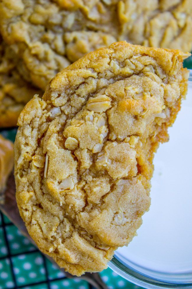 Chewy Peanut Butter Oatmeal Cookies - The Food Charlatan