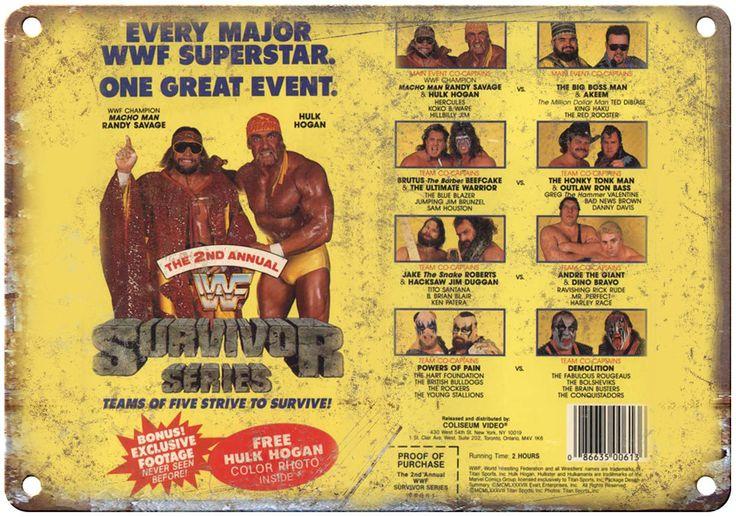 "Survivor Series WWF Hulk Hogan Macho Man VHS Cover 10"" x 7"" Reproduction Metal Sign"