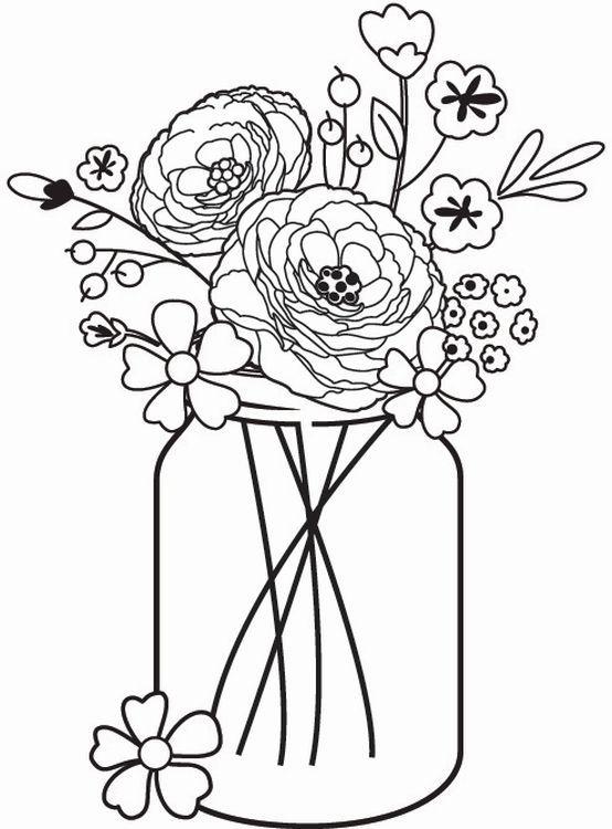 Quot Mason Jar Bouquet Quot Wooden Mounted Rubber Stamp Designed