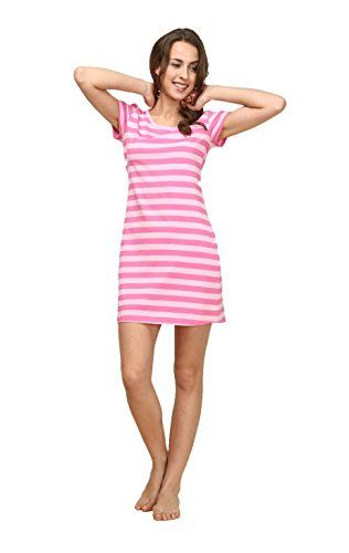 Suntasty Women's Nighties Cotton Chemise Striped Nightshirt Nightgown Robes(Pink,S,1001W) ** You can get more details by clicking on the image.