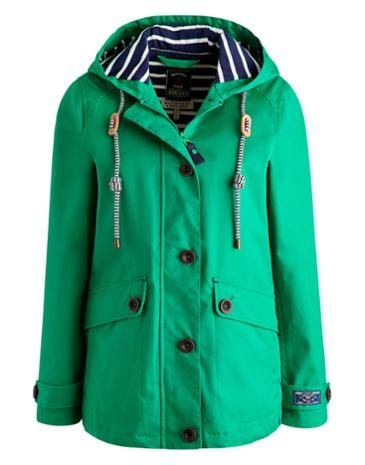 Joules Women's Waterproof Hooded Jacket, Bright Green.                     Part of our Right as Rain collection this shorter boxy style jacket is the perfect accompaniment to any British summer wardrobe.  Buttoned and zipped too and with a soft jersey lining it's comfortable while taped seams make it 100% waterproof.