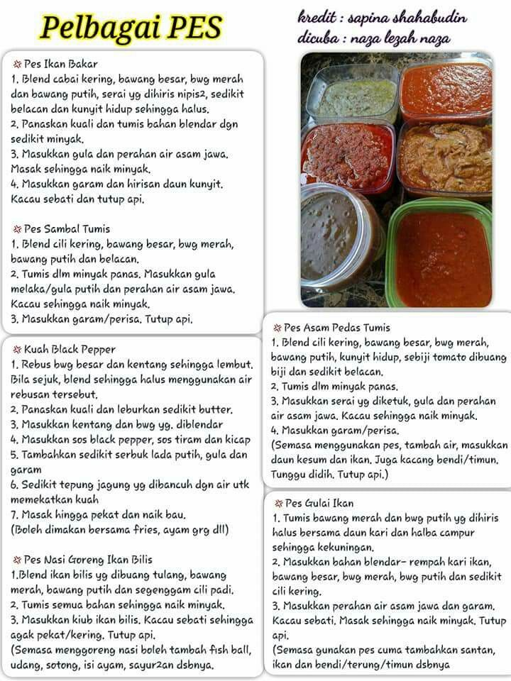 Resepi Pes Homemade Recipes Homemade Spices Recipes