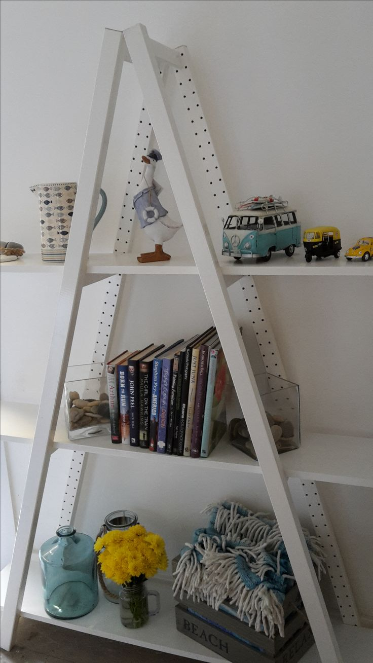 The A Frame!  Hand painted, ladder and shelving unit.  Modern and eye-catching.