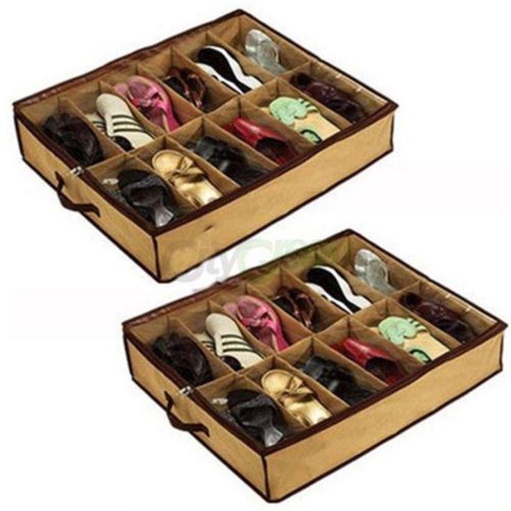Hot Wanita Rumah 12 Pasangan Shoe Organizer Kotak Penyimpanan Pemegang Under Bed Closet Tas