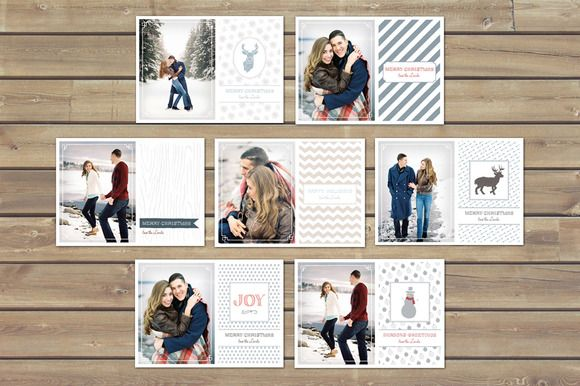 Christmas Card Templates by Jackrabbit Creative on Creative Market