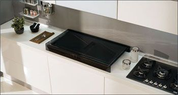 Elleci sink, glass covers and tap recessed