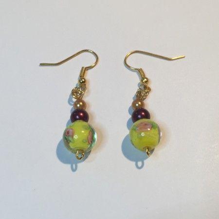 Boucles d'oreilles en verre artisanal jaune
