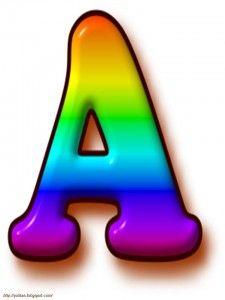 Abecedario arco iris en mayúsculas. Letra A