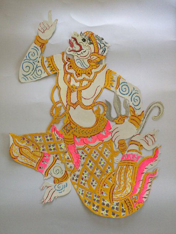 Thai Shadow Puppets Hanuman  paper carving art Thai by EkaluxThai