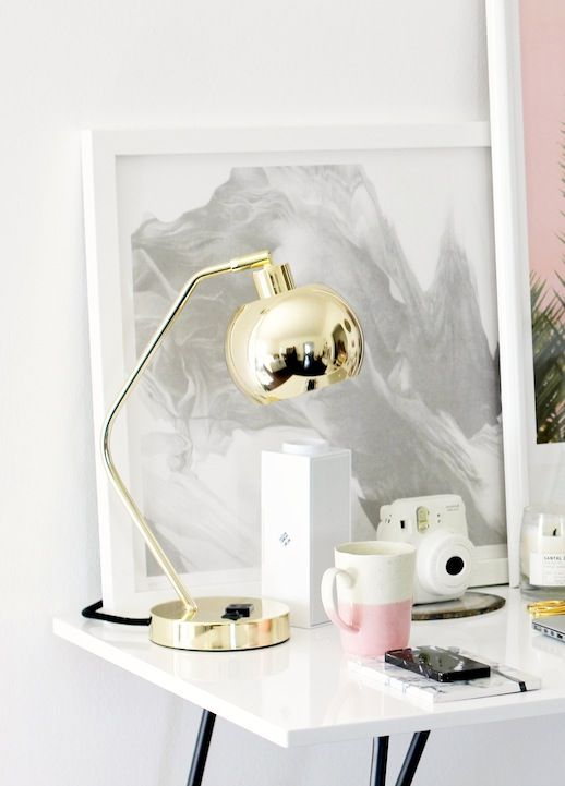 Le Fashion Blog Stylish Whimsical Work Space Urban Outfitters Gold Lamp  Globe Metallic Lighting Pink Mug · White Desk ...