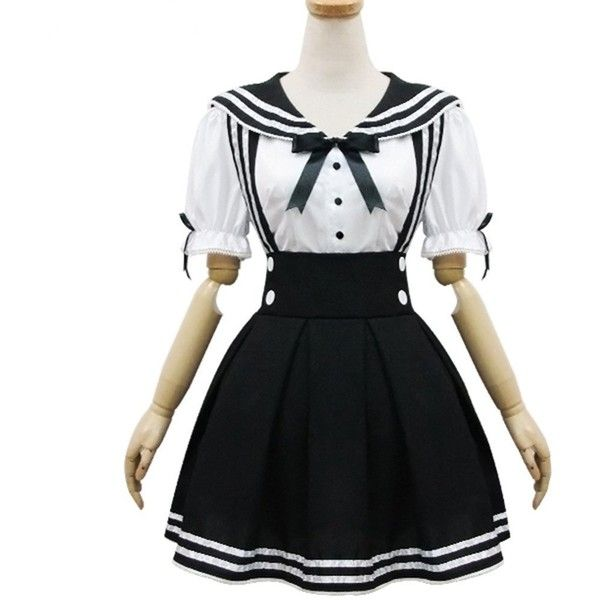 Japan School Uniform Cosplay Costume Anime Girl Maid Sailor School... ($17) ❤ liked on Polyvore featuring dresses, cosplay, sailor halloween costume, cosplay costumes, animal halloween costumes, animal costumes and maid halloween costume