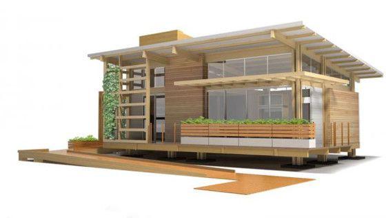 Diseño de casa de madera con rampa