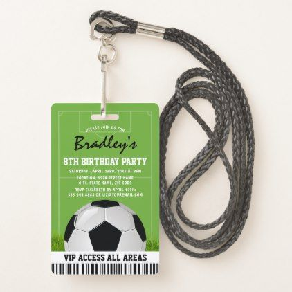 VIP Sports Pass Kids Soccer Birthday Party Badge - kids birthday party gift idea child