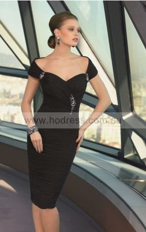 Cap Sleeves Zipper Off The Shoulder Knee-length Elastic Woven Satin Formal Dresses d130604279--Hodress