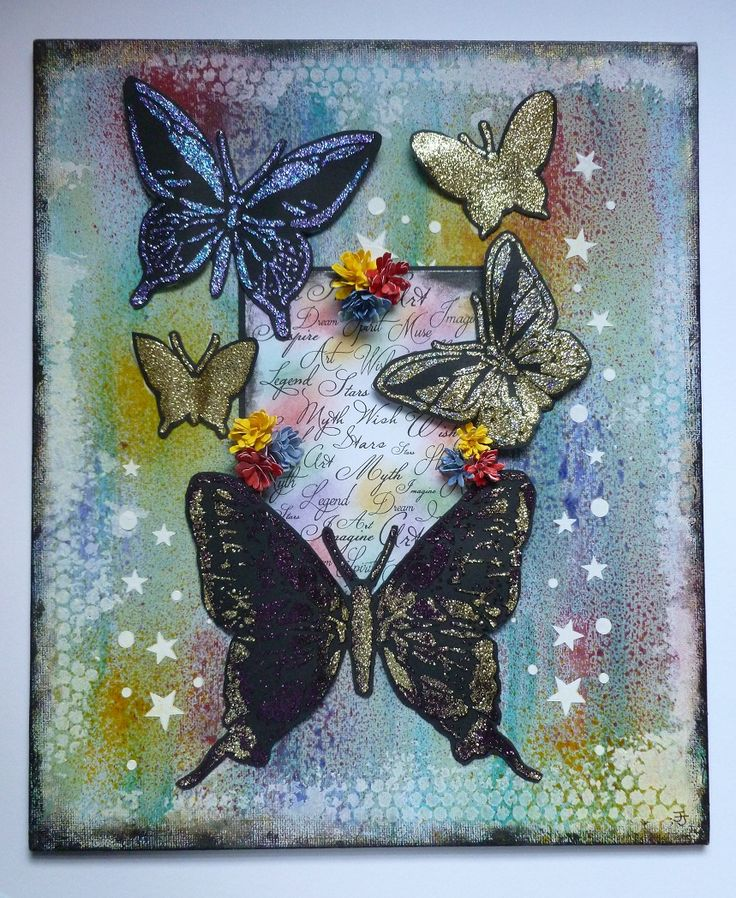 'My Butterfly Canvas' - Imagination Craft's - Sparkle Mediums.  Rusty Patina.  Mixed Media Spray Inks.  Starlight Waxes.  Metal spatula.  Stencil Medium.  Large Butterfly & Script Stencils.  Fantasy Script Art stamp.  White Gesso.  MDF paints.  Distress inks.   March 2017.   Designed by Jennifer Johnston.