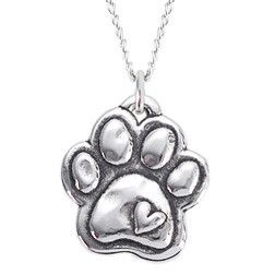 Rockin Doggie Sterling Silver Necklace - Paw with Heart, I love this