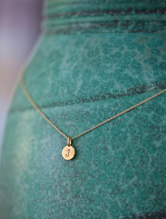 ONE Charm TIny Initial Necklace in 14k Gold Vermeil by annekiel, $48.00