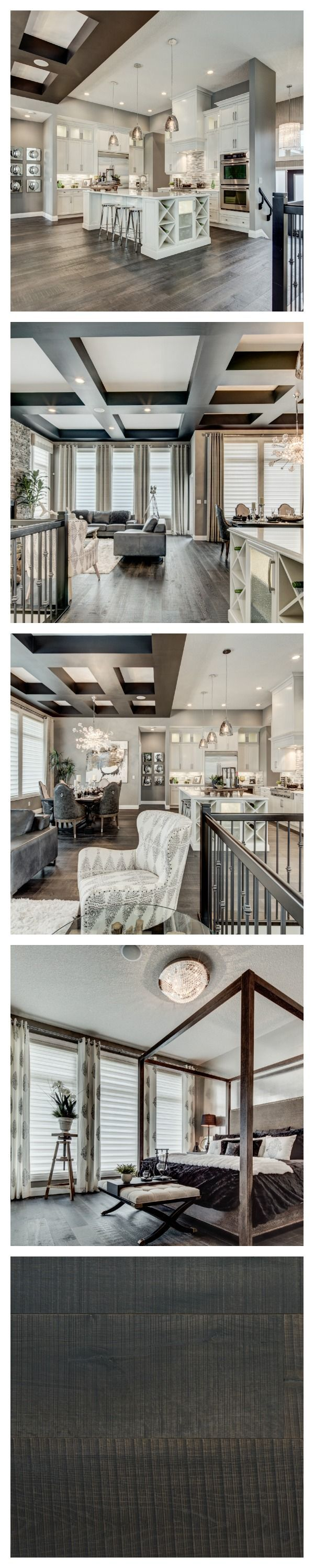 There is a decidedly glamorous edge to this breathtaking model home by Alquinn Homes in Edmonton. The sophisticated palette of greys and creams adds to the luxe appeal. #Farmhouse flooring in the colour Le Bourg. #floors