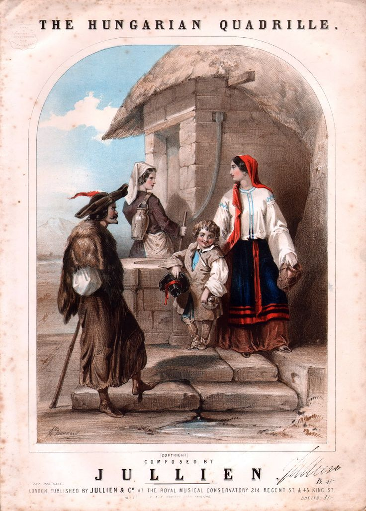The Hungarian Quadrille. circa 1800's Composed by M. Jullien.  M. LOUIS GEORGE JULLIEN was born at Sisleron, in the French Alps, on the 23d of April, 1812, he died in 1860 aged 48.