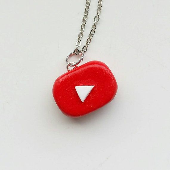 Polymer Clay YouTube Logo Necklace от KawaiiMushrooms на Etsy