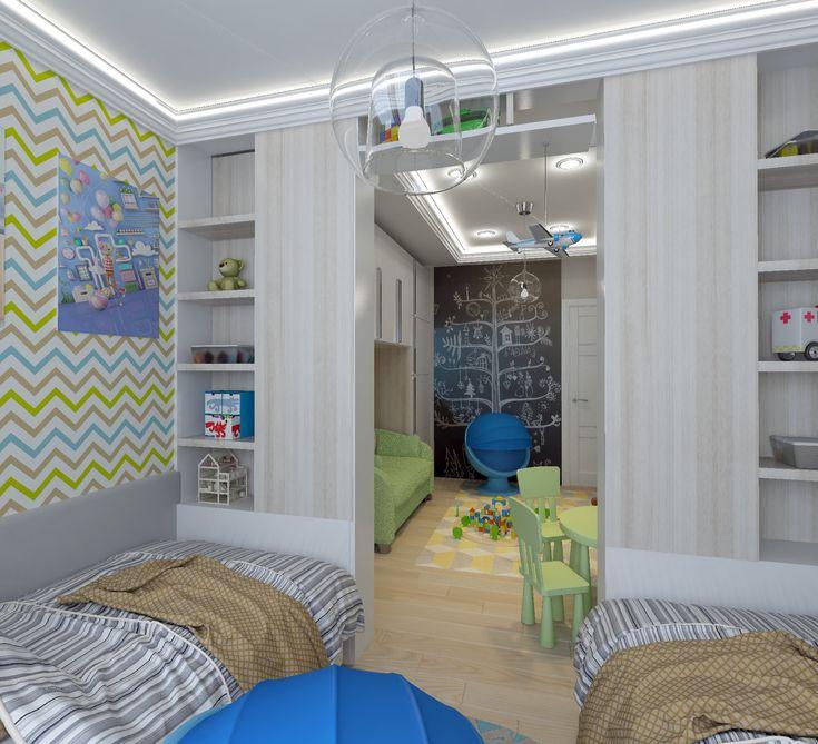 Детская-01. Две кровати в детской комнате. Перегородки из шкафов. Белый потолок со светодиодной подсветкой.