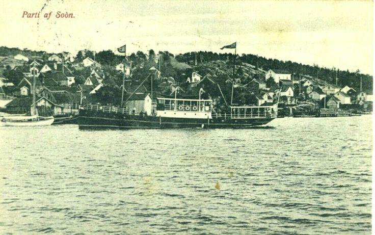 Akershus fylke Vestby kommune Parti af Soon med båt ved havnen brukt 1912