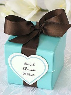 Tiffany Blue wedding favor boxes with brown ribbons and personalized stickers.