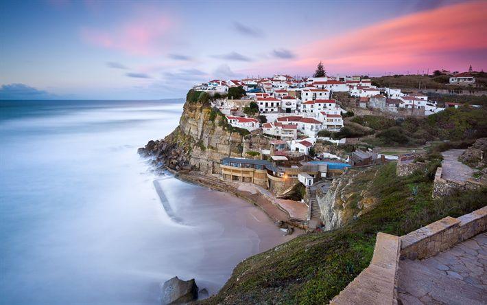 Download imagens Sintra, cidade costeira, Oceano Atlântico, praia, noite, luzes da cidade, Lisboa, Azenhas do Mar, Portugal