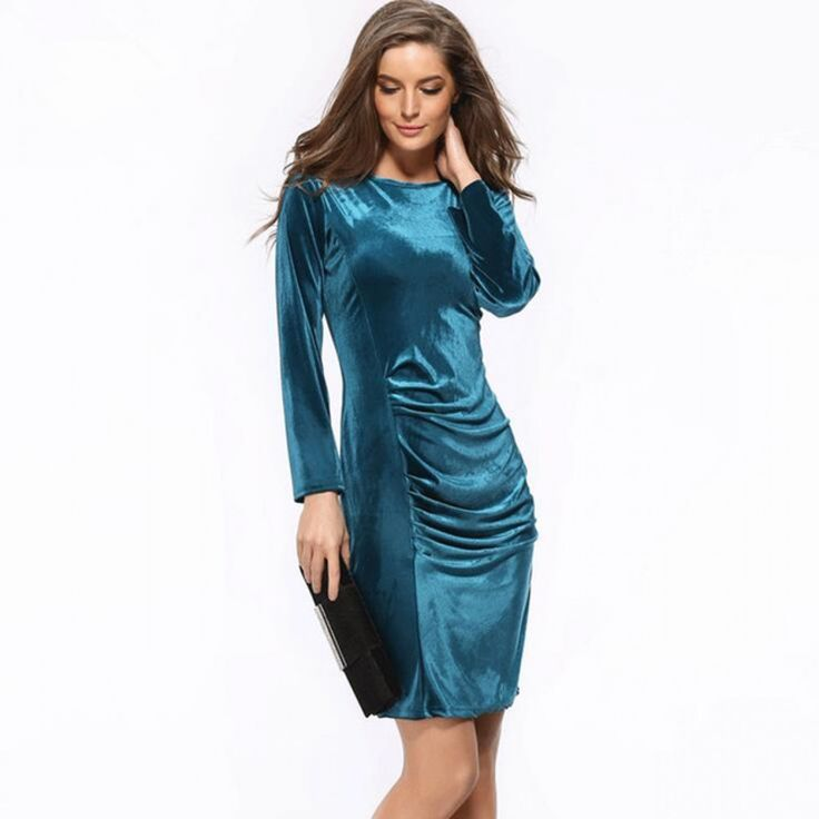 Hot New 2017 Fashion Women Spring Dress Pure Color Soft Casual Gold velvet Dresses Long Sleeve Casual Sexy Line Vestidos