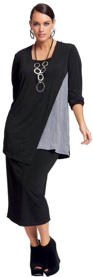 My Size Grey Mist Layered Top- making her slimmer