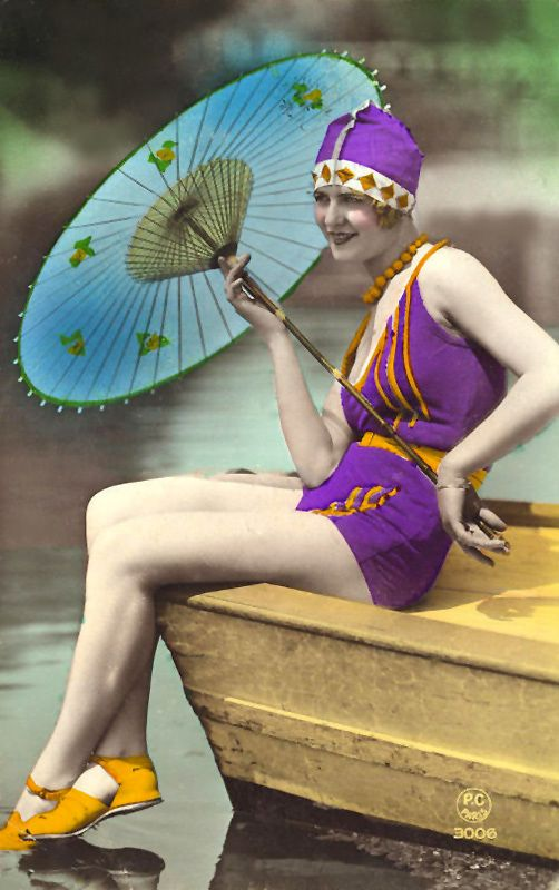 TINTED PHOTOGRAPH. FLAPPER KEEPING HER SHOES DRY. THE HOKEY POKEY MAN AND AN INSANE HAWKER OF FISH BY CONNIE DURAND. AVAILABLE ON AMAZON KINDLE.