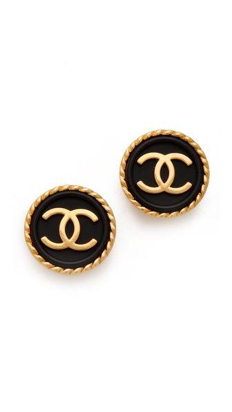 Vintage Chanel black + gold earrings